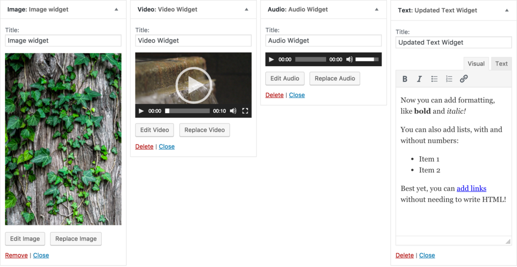WordPress 4.8 Image Widgets