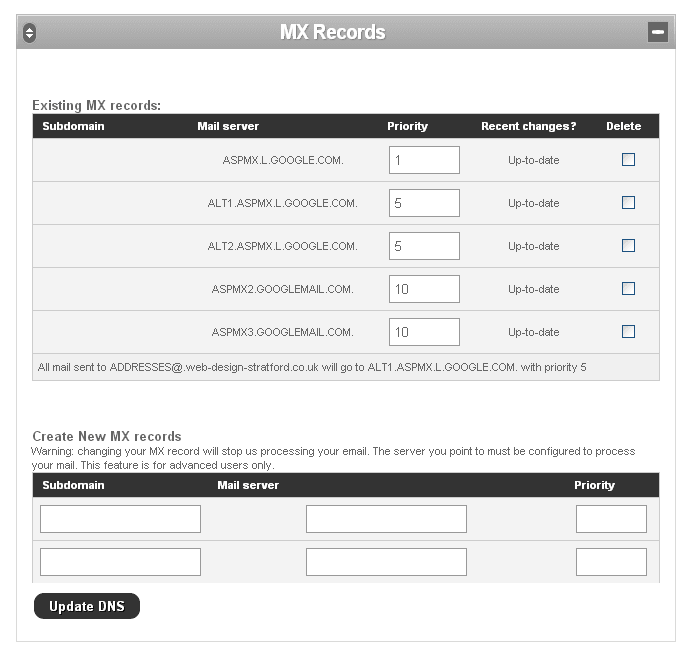Setting up MX records for Google Apps for Business